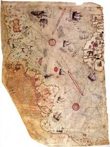 Piri Reis World Map 1513 224x300 Benarkah Columbus Yang Pertama Melintasi Atlantik Menuju Amerika?