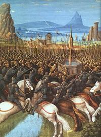 Ilustrasi peperangan Pasukan Islam dengan Tentara Salib di Hattin tahun 1187