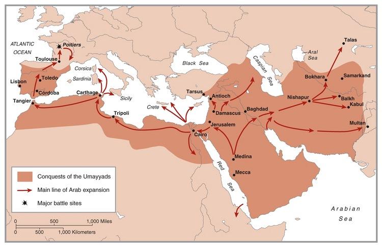 Wilayah kekuasaan Bani Umayyah. Terbentang dari sebagian wilayah Cina hingga  Selatan Prancis. Artinya, Bani Umayyah telah menyebarkan Islam ke berbagai negara di belahan dunia.