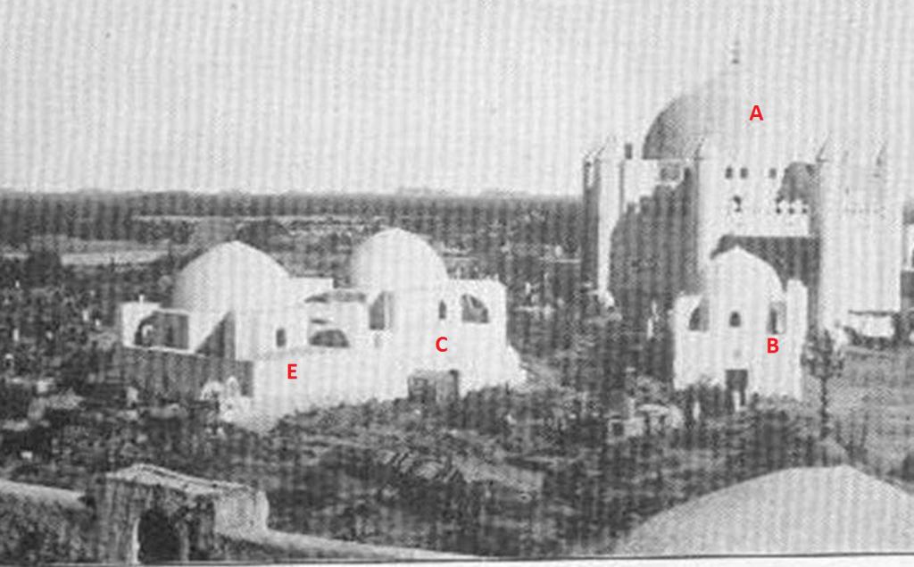 Gambar pemakaman Baqi'. Tampak pada gambar kubah-kubah besar yang dibangun di atas makam sebagai bentuk pengagungan terhadap kubur.