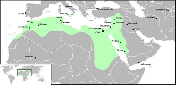 Wilayah kekuasaan Daulah Fatimiyah di masa keemasannya.