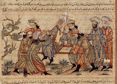 Lukisan kelompok Assassins membunuh Nizam al-Mulk, perdana mentri Kerajaan Saljuk