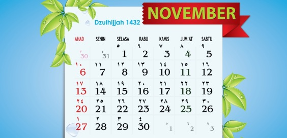 Wallpaper Kalender Cantik November 2011 - Dzulhijjah 1432 H
