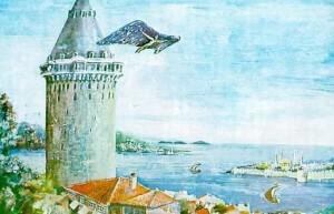 Hezarafen meluncur dari puncak menara Galata, Istanbul