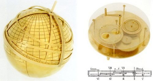 Gambar kiri, model astrolabe bulat dan gambar kanan model mekanis matahari dan kalender bulan. Kedua model ini dibuat berdasarkan desain dan deskripsi dari al-Biruni. Ditemukan di Institute for the History of Arabic-Islamic Science di University of Frankfurt.
