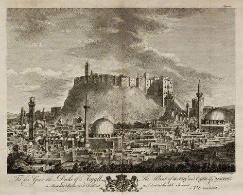Kota Aleppo di Masa Turki Utsmani. Dicetak di London oleh William Strahan pada 1754. Sumber gambar: vintage-maps.com
